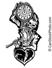 severo, mortos, ou, reaper, relógio