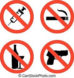 severo, vector, señales, no fumar, no, drogas, no, arma, y,...