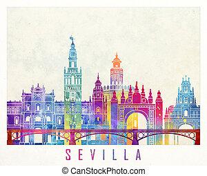 Sevilla landmarks watercolor poster