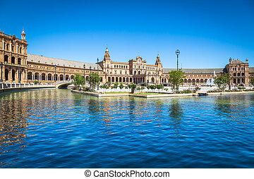 sevilla, od, hiszpania, espana, piękny, plac