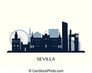 Sevilla skyline, monochrome silhouette.