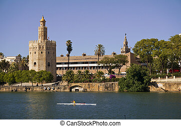 "Image of ""torre del oro"" tower in guadalquivir river in Sevilla city"
