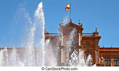 Seville building and fountain - close up of the fountain at ...