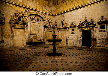 Seville Cathedral Interior - Detail of an old fountain ...
