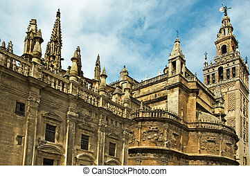 Seville cathedral - lateral view of Seville Cathedral with ...