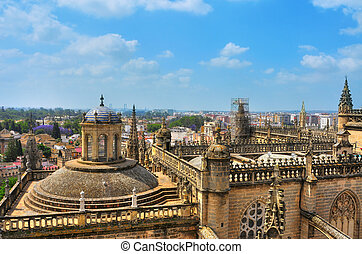Seville Cathedral, Spain - aerial view of Seville Cathedral...