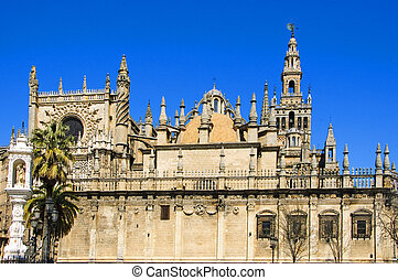 Seville Cathedral, Spain - View of Seville Cathedral with ...