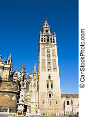 Seville Cathedral with the Giralda Tower in Seville called, Spain