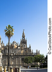 Seville Cathedral with the Giralda Tower in Seville called, ...