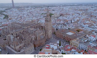 Seville City and Cathedral Sunset Aerial View - Sunset over...