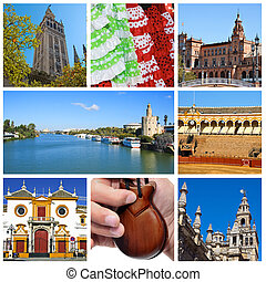 Seville collage - a collage of eight pictures of different...
