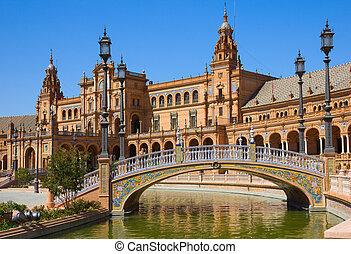 seville, köztér, españa, spanyolország, bridzs, ellen-