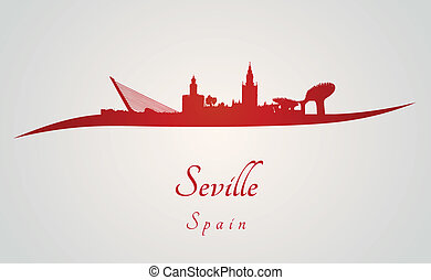 Seville skyline in red and gray background in editable ...