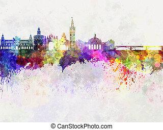 Seville skyline in watercolor background
