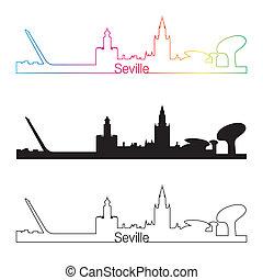 Seville skyline linear style with rainbow in editable vector file