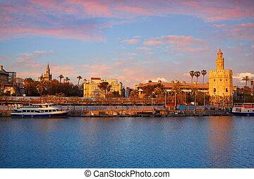 Seville sunset skyline torre del Oro and Giralda in Sevilla ...