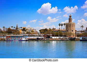 Seville Torre del Oro tower in Sevilla Andalusia Spain