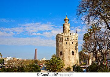 Seville Torre del Oro tower in Sevilla Spain - Seville Torre...