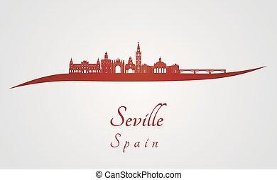 Seville V2 skyline in red - Seville skyline in red and gray ...