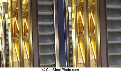 Sevral scalators run in multiple floors shopping center