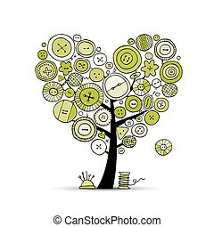 Sew with love, tree with buttons. Sketch for your design....
