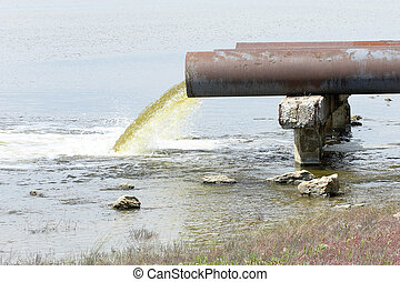 sewage from the sewer pollutes a lake