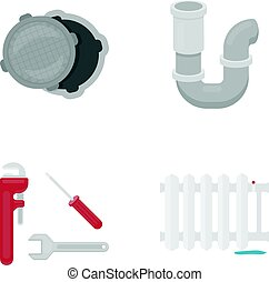 Sewage hatch, tool, radiator.Plumbing set collection icons in cartoon style vector symbol stock illustration web.
