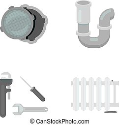 Sewage hatch, tool, radiator.Plumbing set collection icons in monochrome style vector symbol stock illustration web.