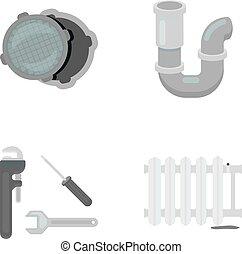 Sewage hatch, tool, radiator.Plumbing set collection icons in monochrome style vector symbol stock illustration web.