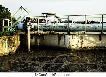Sewage - Old sewage treatment plant with a dirt