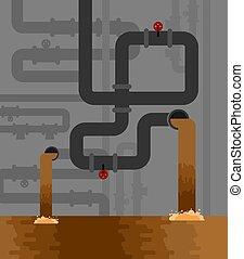 sewage., saneamiento, alcantarillado, suministro, sistema, ...