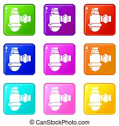 Sewage siphon icons set 9 color collection isolated on white...