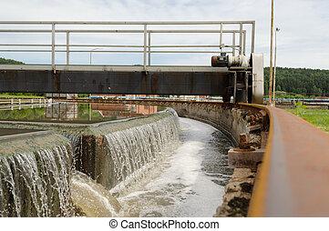 Sewage treatment mechanism spin filter water
