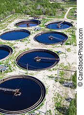 Sewage water plant - Group from big sedimentation drainages...