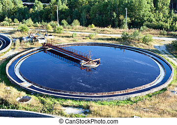 Sewage water treatment plant - Close up of settler in water ...