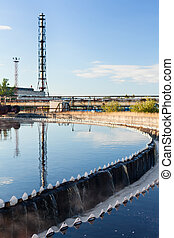 Sewage water treatment plant. Close-up of settler