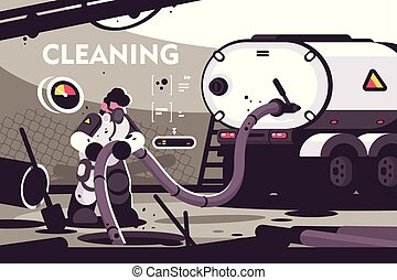 Sewer Cleaning service flat poster. Professional plumber...
