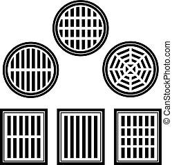 sewer cover black symbol