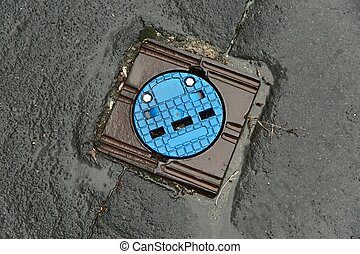 Sewer cover on a street