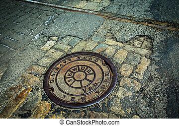 Sewer Drain  - Old sewer drain Brooklyn Navy Yard