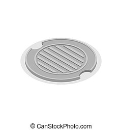 Sewer hatch Closed. Manhole cover. Well hatch. Vector illustration