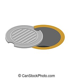 Sewer hatch Open. Manhole cover. Well hatch. Vector illustration