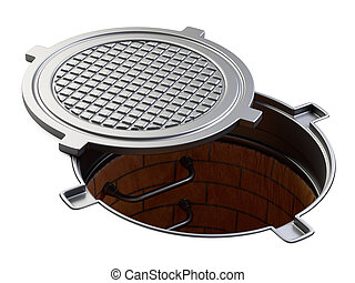 Sewer hatch with open lid manhole hole cover.
