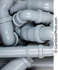Sewer pipes chaos - Grey PVC sewer pipes  background