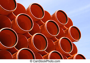 Sewer pipes - Colorful PVC pipes abstract. Industrial object...