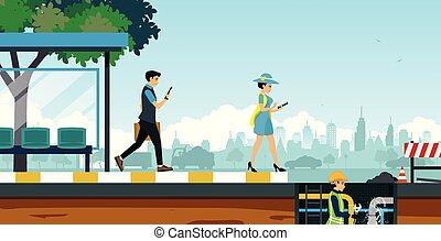 Sewer repair - Women using smartphones are going to walk...