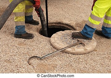 Sewer workers in action (France)