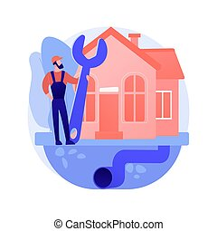 Sewerage system abstract concept vector illustration. Domestic sewerage system, wastewater collection and disposal, sewer network technologies, repair service, water treatment abstract metaphor.