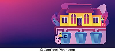 House with sewerage system and plumbing specialist with wrench. Sewerage system, domestic wastewater service, sewer system technologies concept. Header or footer banner template with copy space.