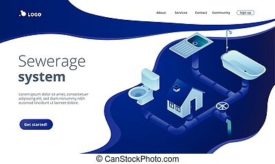 House sewage system with pipes, sink, bath and toilet. Sewerage system, domestic wastewater service, sewer system technologies concept. Isometric 3D website app landing web page template